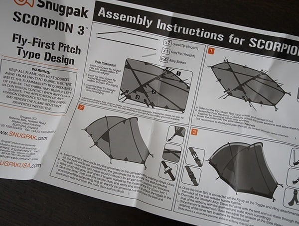 Snugpak Scorpion 3 Tent Assembly Instructions