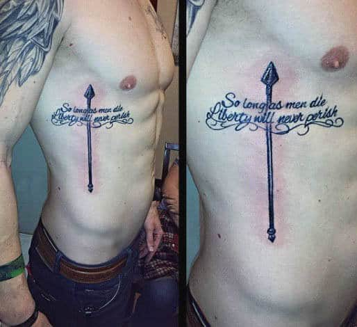 So Long As Men Die Liberty Will Never Parish Mens Spear Quote Rib Cage Side Tattoos