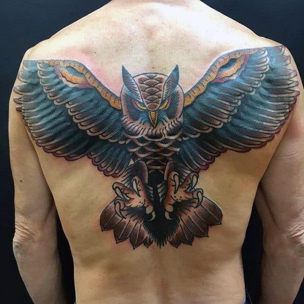 Soaring Blue Owl Traditional Mens Back Tattoos