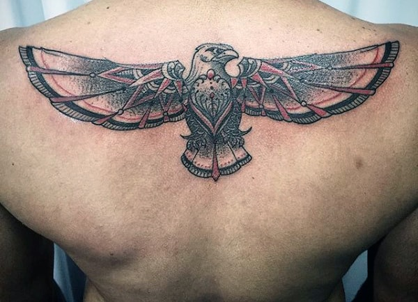 Tribal Soaring Eagle Tattoo On Back For Men
