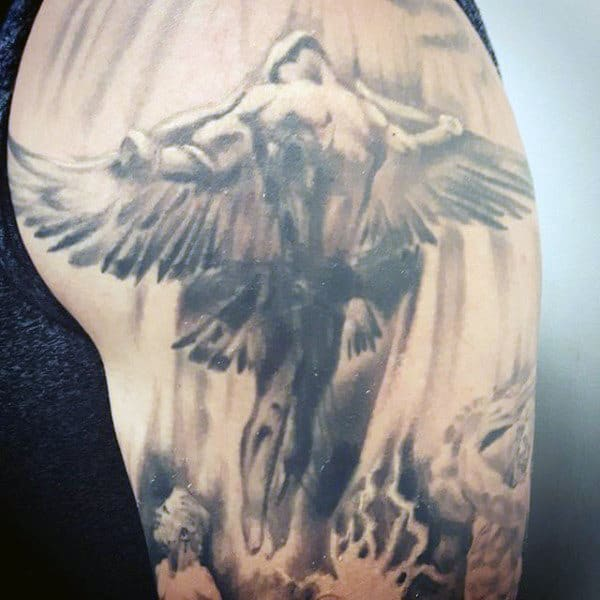 Soaring Icarus Guys Shaded Upper Arm Tattoo Designs