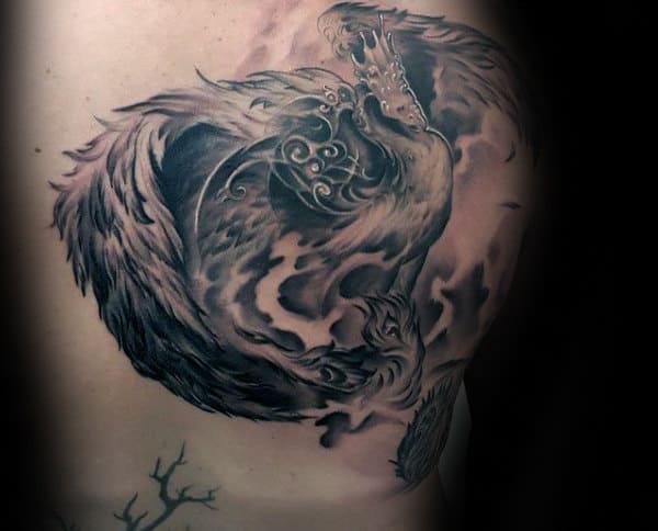 Soaring Polish Eagle Mens Shaded Back Tattoo Design Ideas