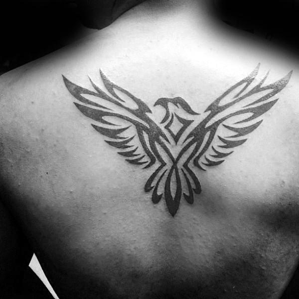 Soaring Tribal Eagle Back Tattoos For Gentlemen