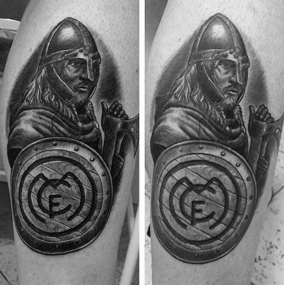 Soccer Warrior Guys Real Madrid Tattoo Design Ideas On Leg