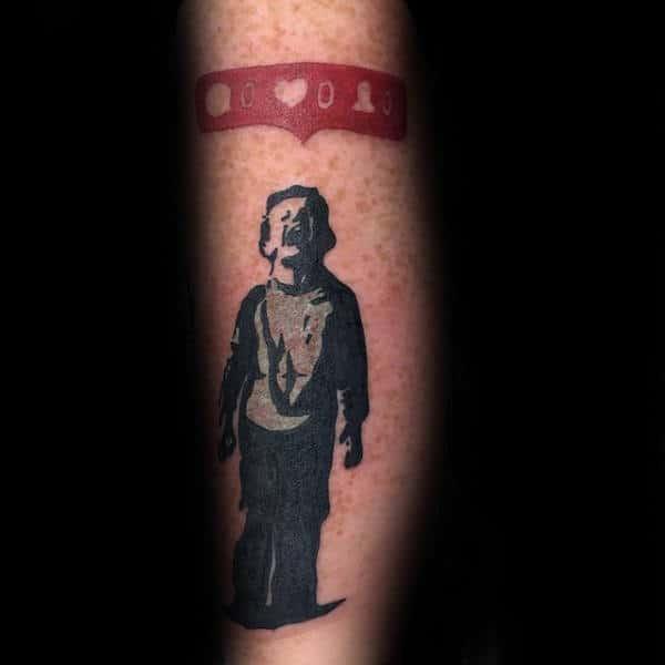 Social Network Banksy Mens Forearm Tattoo