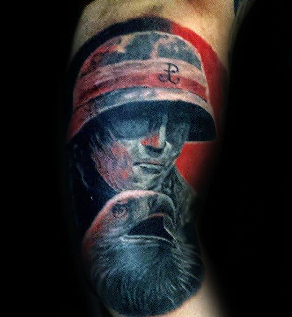 Soider With Polish Eagle Mens Arm Quarter Sleeve Tattoo