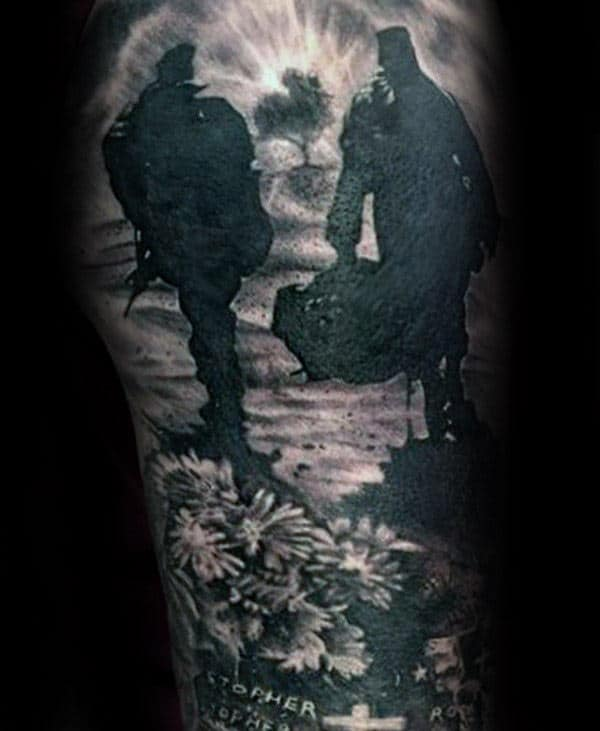 Soilders Memorial Guys Sleeve Tattoo With Shaded Black And Grey Ink
