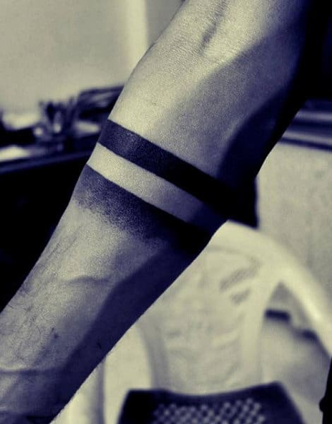 Solid And Faded Black Line Armband Tattoo Guys Ideas