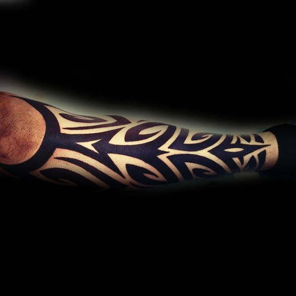 Solid Black Ink Lines Tribal Guys Shin Tattoos