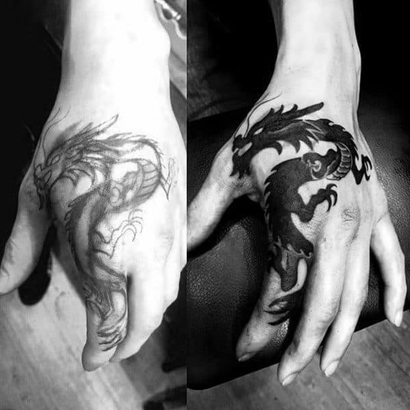 Solid Black Ink Masculine Guys Small Dragon Hand Tattoo
