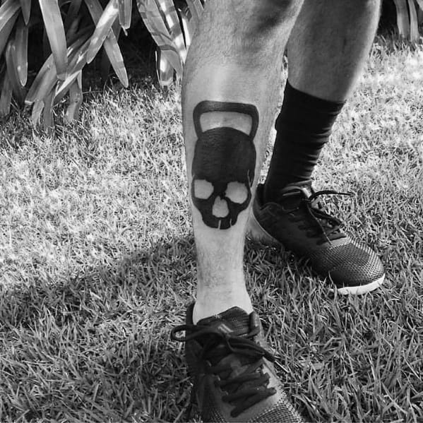 Solid Black Ink Sweet Mens Crossfit Tattoo Ideas On Shin