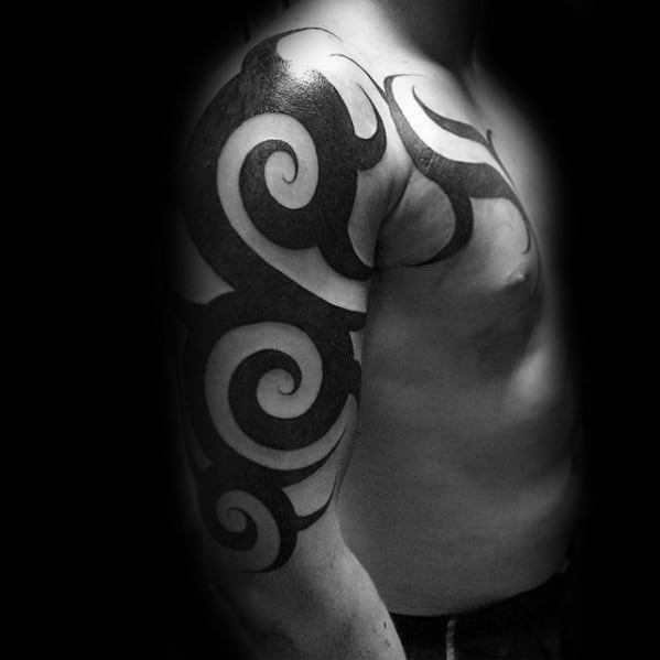 Solid Black Ink Traditional Awesome Tribal Tattoo Design Ideas For Males