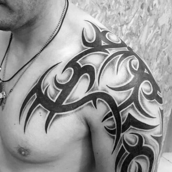 Solid Black Ink With Shadow Mens Tribal Shoulder Tattoos