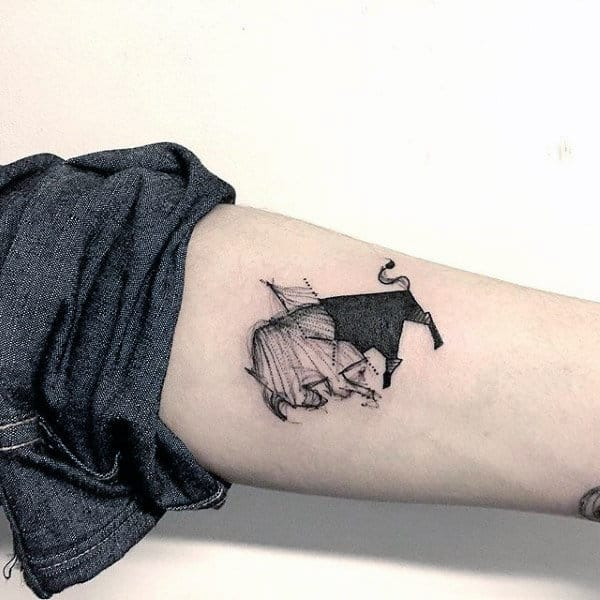 Solid Black Ink With Sketched Half Guys Small Simple Taurus Bull Inner Forearm Tattoo Ideas