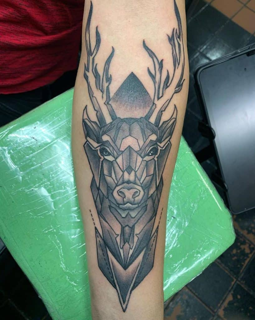 Solid Deer Neg Space Detailed Geometric Tattoo