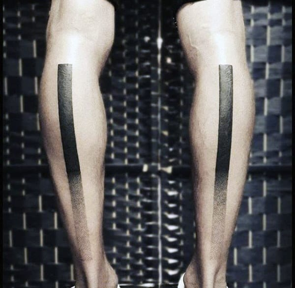 Solid Faded Black Line Blackwork Mens Tattoo On Legs
