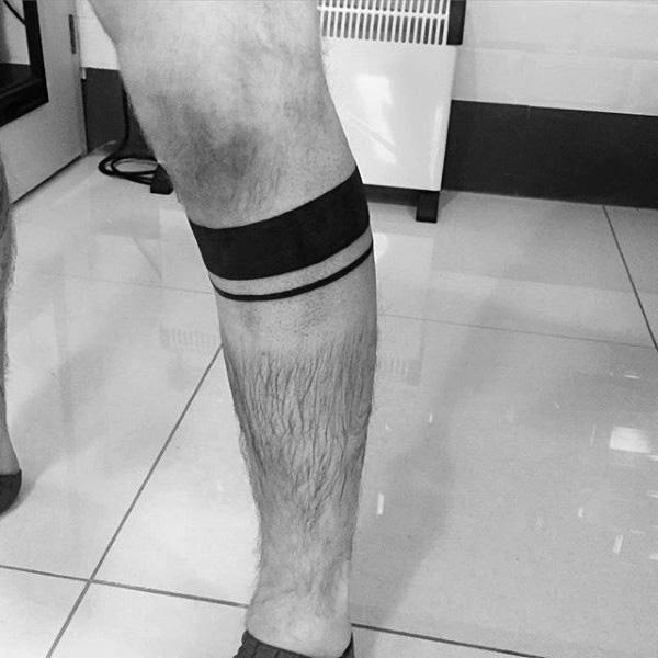 Solid Ink Black Band Male Leg Tattoo Ideas