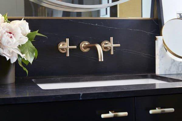 Solid Slab Black Marble Gold Fixtures Bathroom Backsplash Ideas