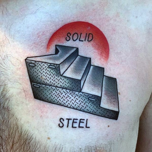 Solid Steel Upper Chest Stairs Wrestling Tattoos For Males