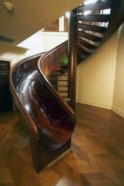 Solid Wood Indoor Spiral Staircase Slide Ideas