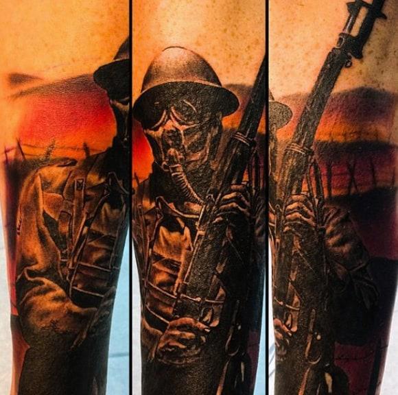 Solider Battle Field Gas Mask Tattoo For Men