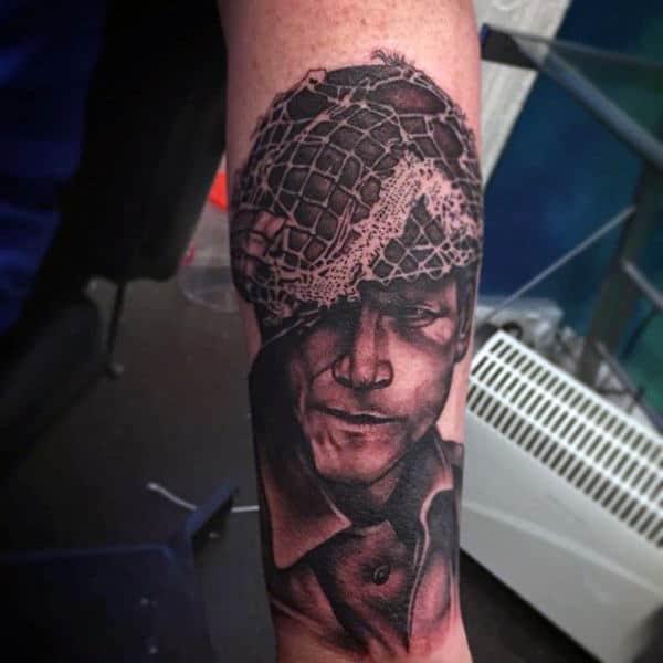 Solider Guys Shaded Ww2 Inner Forearm Tattoo Ideas