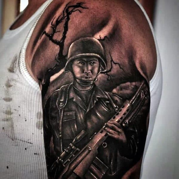 Solider Military Sleeve Tattoo For Men