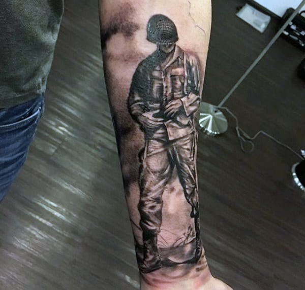 Solider Standing On Battlefield Mens Ww2 Forearm Tattoo
