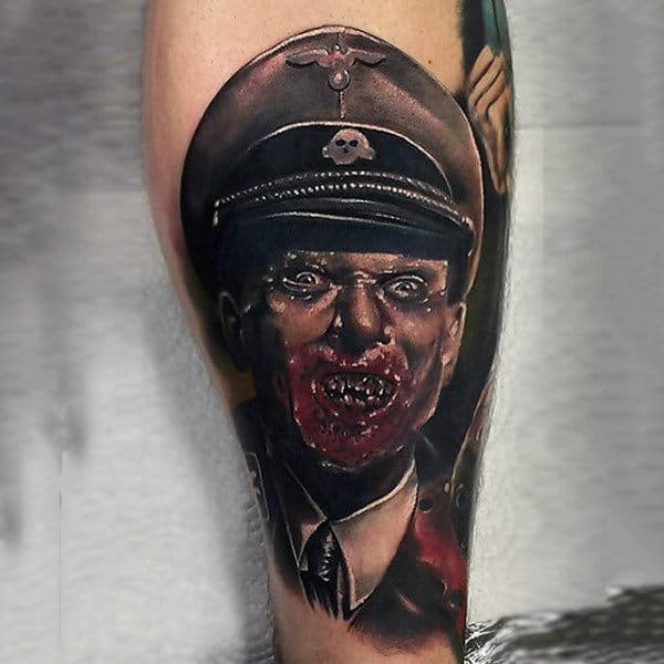 Solider Zombie Tattoo On Mans Lower Leg Calf