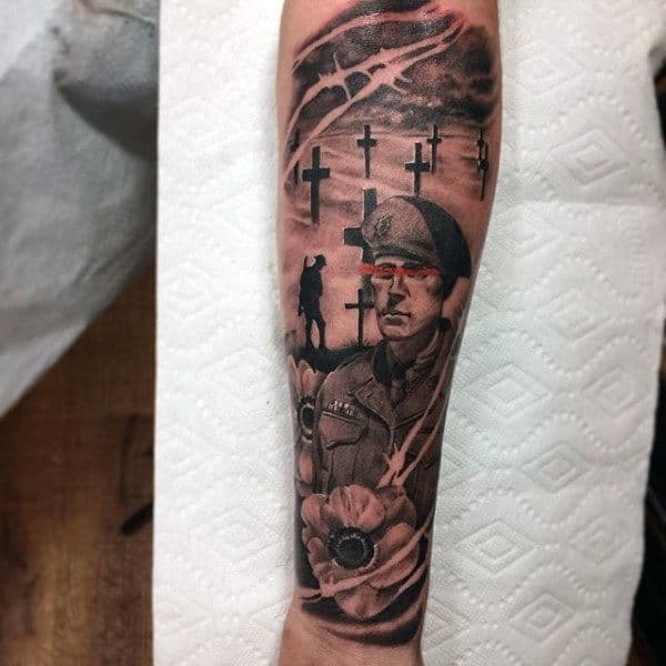 Soliders Cross Guys Ww2 Battlefield Forearm Sleeve Tattoo Design Ideas