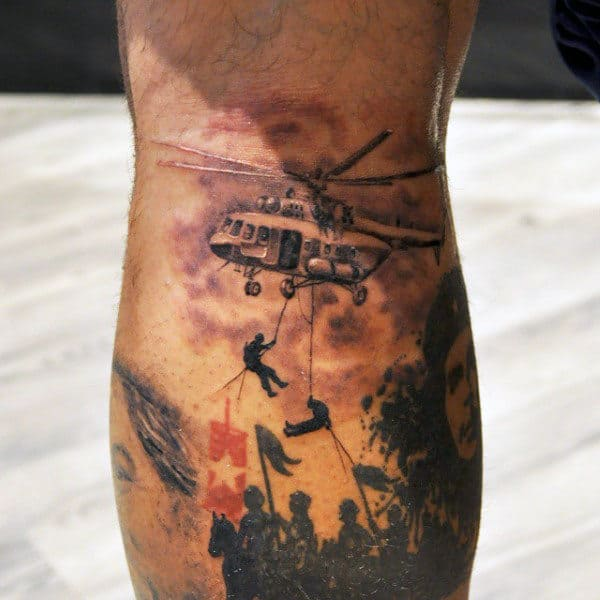 Soliders Repeling From Helicopter Mens Army Leg Calf Tattoos