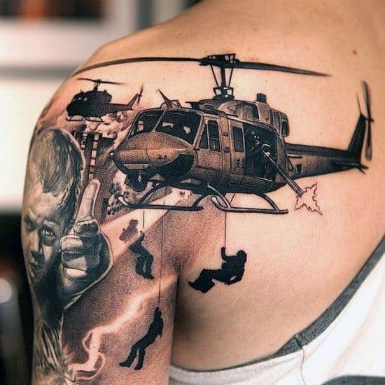 Soliders Repelling Down From Helicopter Mens Shoulder Tattoo
