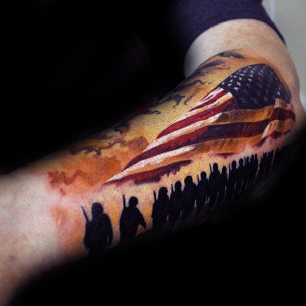 Soliders With American Flag Guys Different Sleeve Tattoo