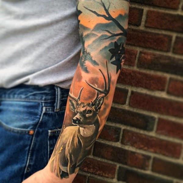 Solorful Stylist Deer In Mist Full Sleeve Tattoo On Man