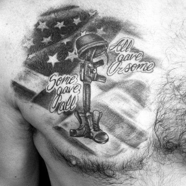 Some Gave All And All Gave Some Mens Fallen Soldier Chest Tattoo