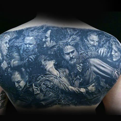 Sons Of Anarchy Biker Mens Back Tattoos