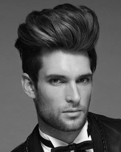 Sophisticated Long Length Quiff Haircut On Gentleman