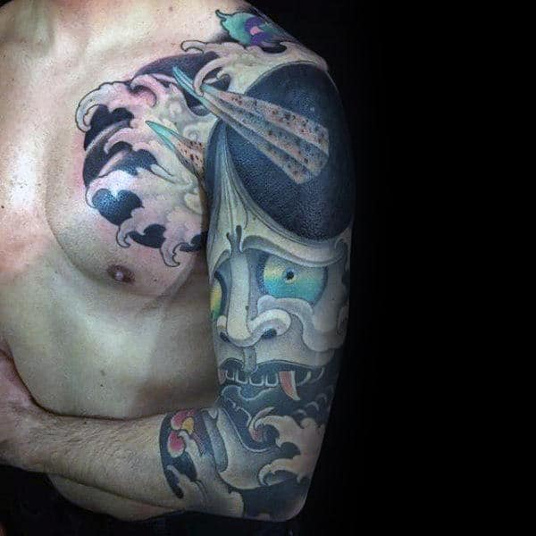 Sorrowful Mens Hannya Mask Half Sleeve Tattoos