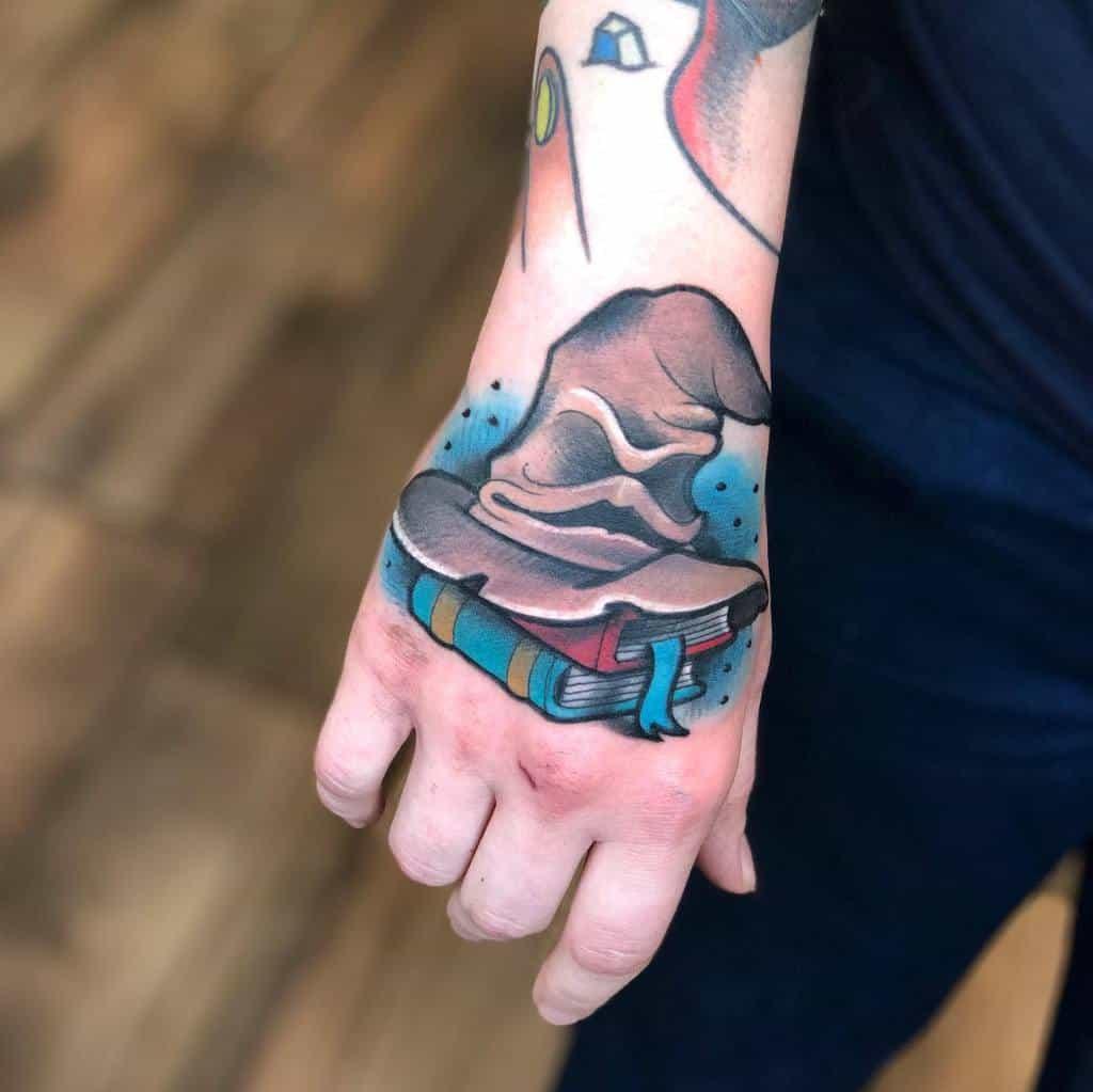 Sorting hat Harry Potter tattoo hand tattoo