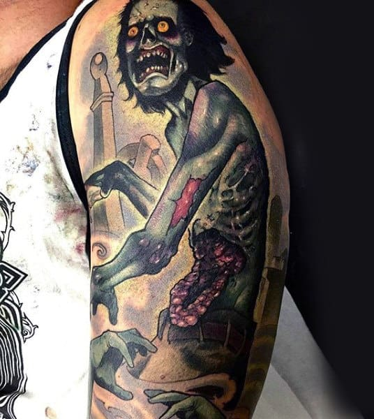 Soulless Corpse Zombie In Graveyard Mens Sleeve Tattoo