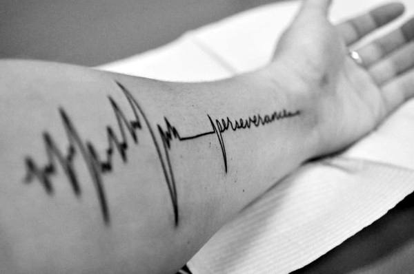 Sound Line Tattoo For Men On Forearm
