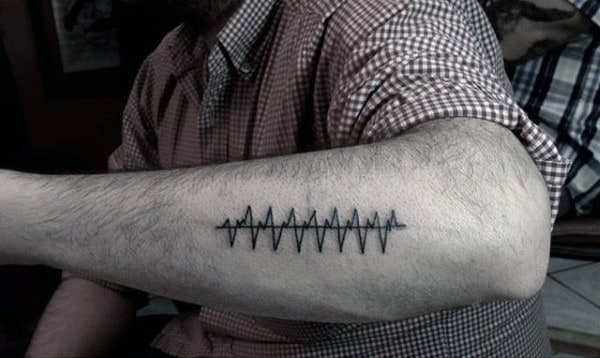 Soundwave Minimalist Guys Outer Forearm Tattoo Design Ideas