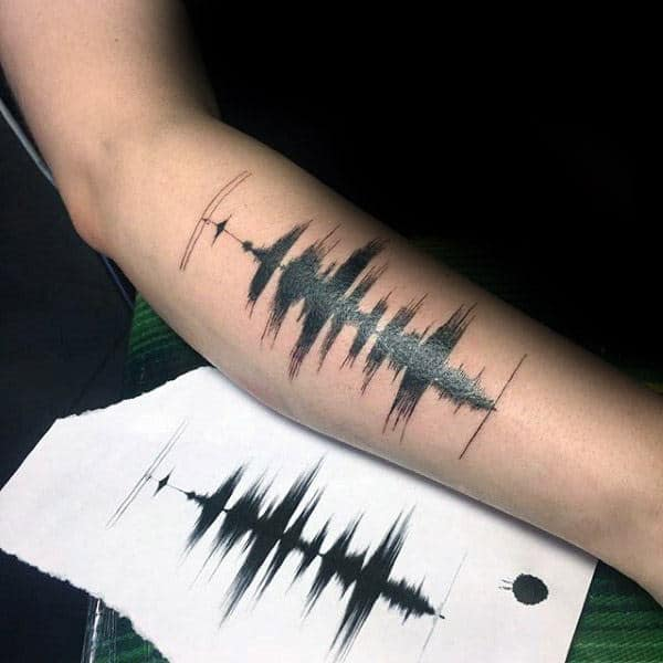 Soundwave Of Voice Memorial Mens Forearm Tattoo