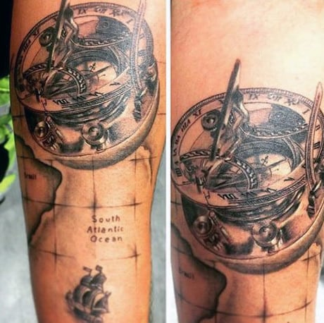 South Atlantic Ocean World Map With Vintage Compass Mens Tattoo