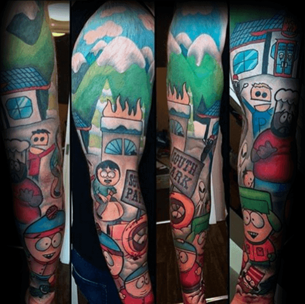 South Park Full Arms Leeve Tattoos For Men