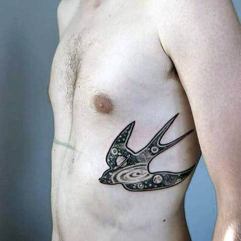 Space Inside Sparrow Tattoo Mens Torso
