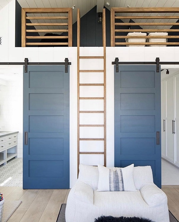 Space Saving Painted Barn Doors