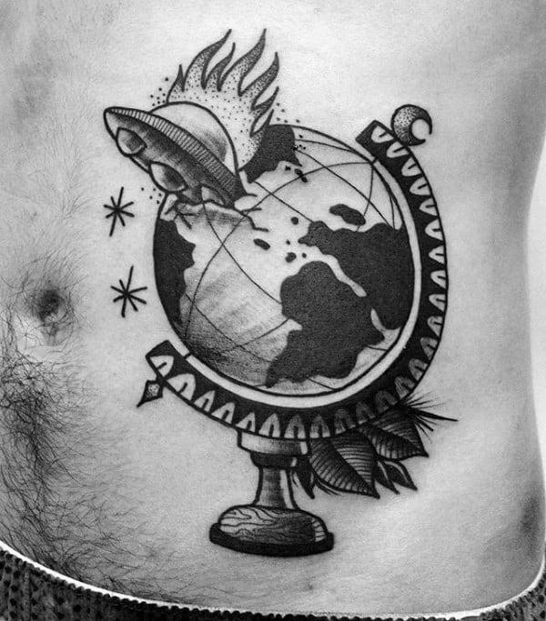 Space Ship Crashing Into Globe Mens Stomach Tattoos