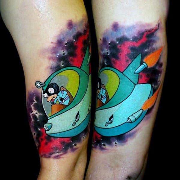 Space Ship Guys Futurama Tattoo On Inner Arm