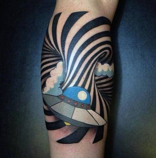 Space Ship Moving Through Spiral Bicep Optical Illusion Tattoo For Males